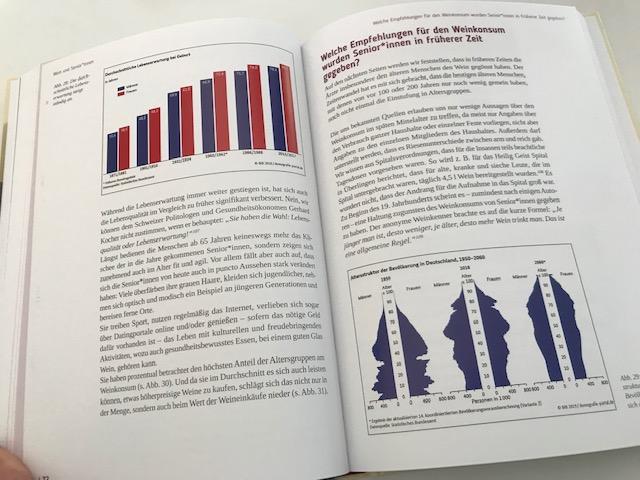 Innenseite mit Wein-Statistiken im Buch Wein ist Kult